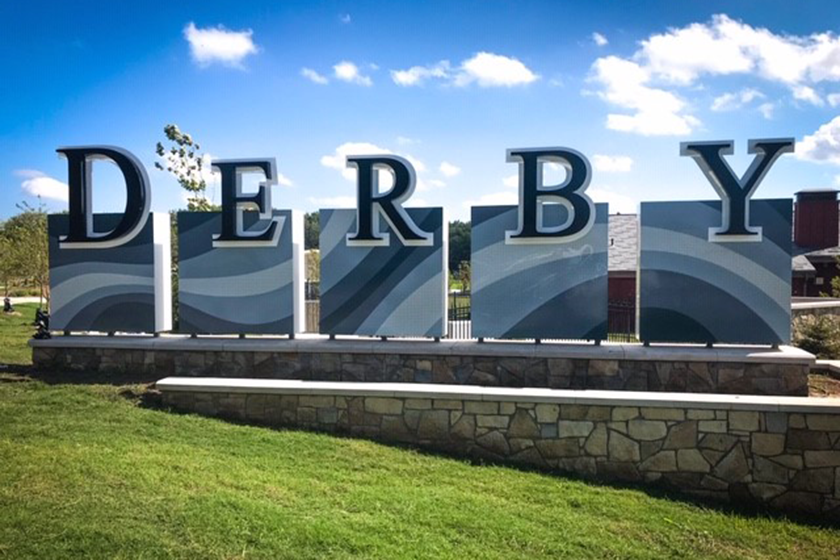 Derby welcome sign